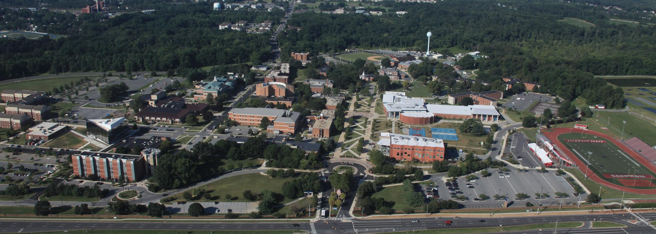 aerial view of DSU campus